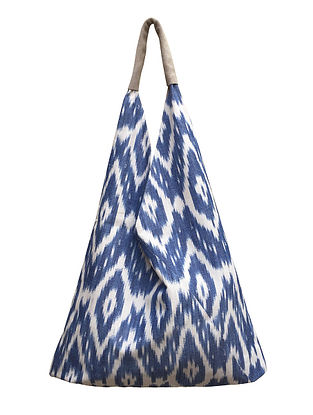 Blue White Handcrafted Cotton Tote Bag