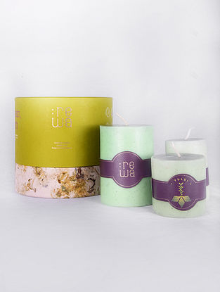 Holy Basil Green Handmade and Hand poured Candles (Set of 3)