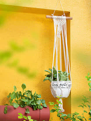 White Handmade Macrame Thread Wall Plant Holder with Wood Rod (12in x 42in)