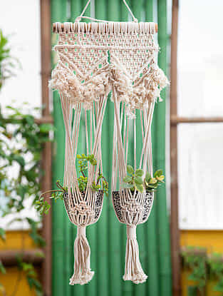 White Handmade Macrame Thread Wall Double Plant Holder with Wood Rod (16in x 32in)