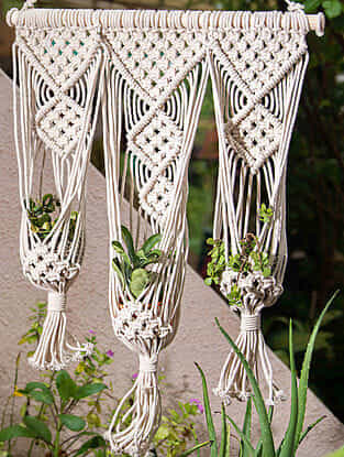 White Handmade Macrame Thread Wall Triple Plant Holder with Wood Rod (18in x 34in)
