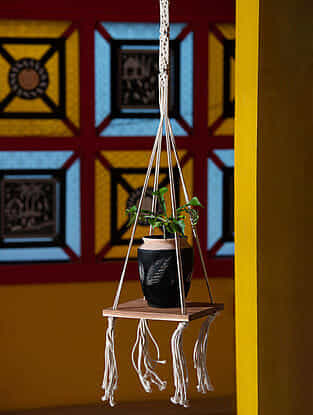 White Handmade Macrame Thread Hanging Plant Holder with Wood Shelf (12in x 37.75in)