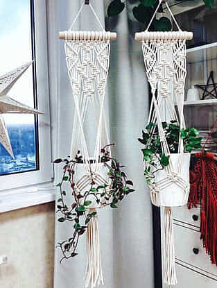 White Handmade Macrame Thread Mesh Planter with Wood Rod (12in x 32in)