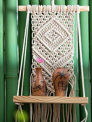White Handmade Macrame Thread Plant Shelf with Wood Shelf (24in)
