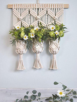 White Handmade Macrame Thread Triple Planter with Wood Rod (24in x 22in)