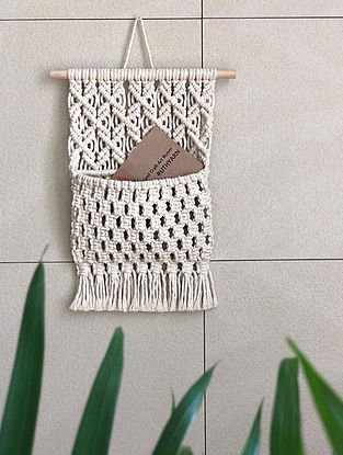 White Handmade Macrame Thread Plant Holder with Wood Rod (12in x 15in)