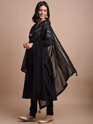 Black Embroidered Chanderi Dupatta