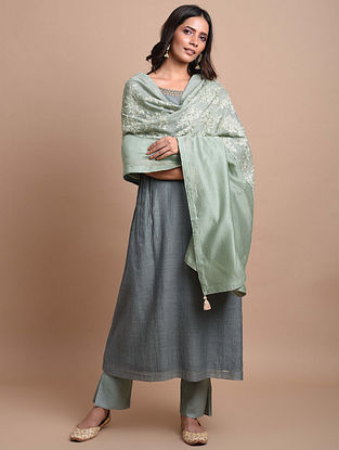 Grey Green Embroidered Chanderi Dupatta