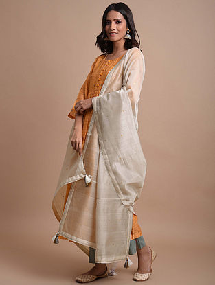 Grey  Handwoven Chanderi Dupatta
