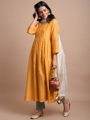 Mustard Yellow Checkered Handwoven Chanderi Kurta Dress with Hand Embroidery