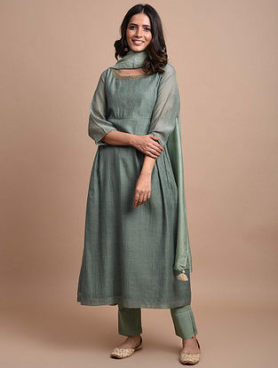 Grey Green Striped Organza Chanderi Kurta Dress with Hand Embroidery