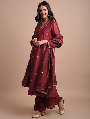 Maroon Hand Embroidered Chanderi Kurta