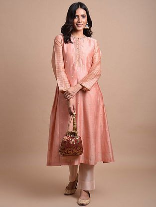 Pink  Handwoven Chanderi Jacquard Kurta with Hand Embroidery