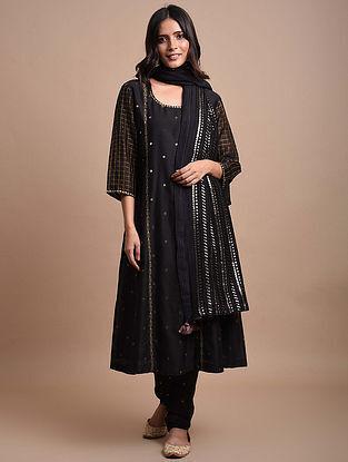 Black  Handwoven Chanderi Jacquard Kurta with Hand Embroidery