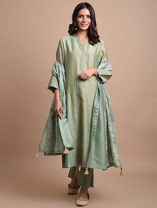 Green Checkered Handwoven Chanderi Kurta with Hand Embroidery