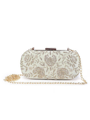 Mint Green Hand Embroidered Raw Silk Clutch