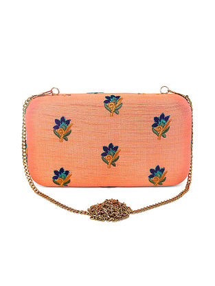 Multicolored Hand Embroidered Raw Silk Clutch