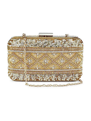 Gold Silver Hand Embroidered Raw Silk Clutch