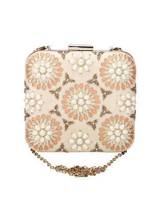 Off White Hand Embroidered Raw Silk Clutch