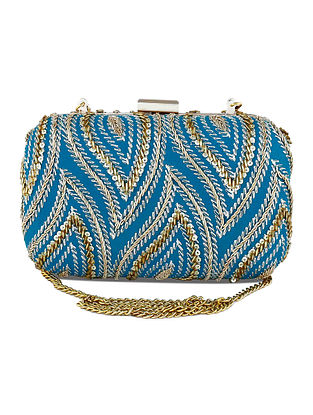 Blue Hand Embroidered Raw Silk Clutch
