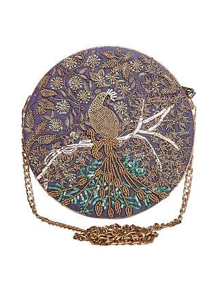 Purple Hand Embroidered Raw Silk Clutch