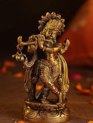 Brass Krishna (L - 1in, W - 2.1in, H - 4.2in)