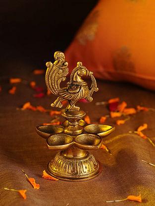 Brass Peacock Pancham Diya (L - 3.5in, W - 3.5in, H - 5.3in)