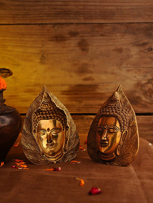 Brass Leaf Buddha - Set Of 2 (L - 6.1in, W - 4.5in)