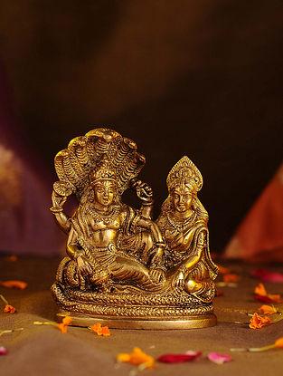 Brass Vishnu Laxmi (L - 3.6in, W - 2.1in, H - 4.3in)