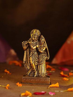 Brass Radha Krishna (L - 2.3in, W - 1.3in, H - 4.3in)