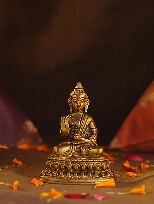 Brass Small Buddha (L - 2.1in, W - 3in, H - 4in)
