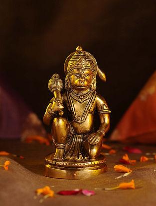 Brass Hanuman Round Base (L - 3in, W - 2.3in, H - 5.5in)