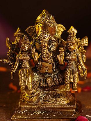 Brass Riddhi Siddhi Ganesh (L - 3.6in, W - 2.5in, H - 4.5in)
