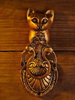 Brass Cat Door Knocker (L - 8.5in, W - 3.5in)