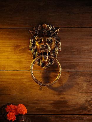 Brass Lion Door Knocker (L - 9.5in, W - 7in)