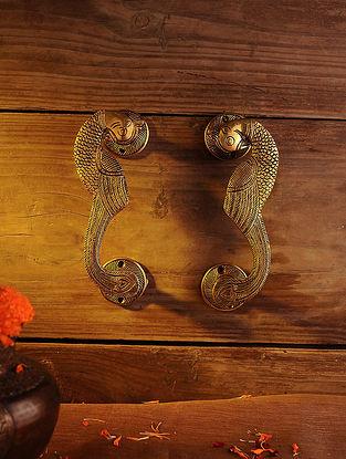 Brass Peacock Door Handle - Set of 2 (L - 7.2in, W - 1.7in)
