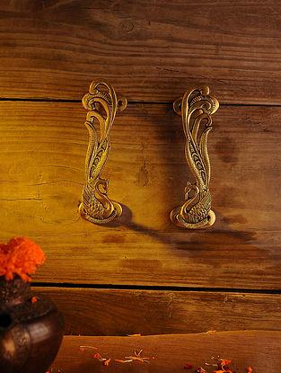 Brass Peacock Door Handle - Set of 2 (L - 7.1in, W - 1.5in)