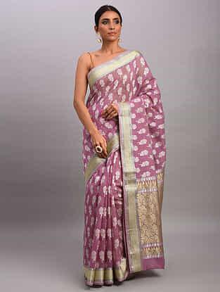 Purple Handwoven Benarasi Cotton Saree