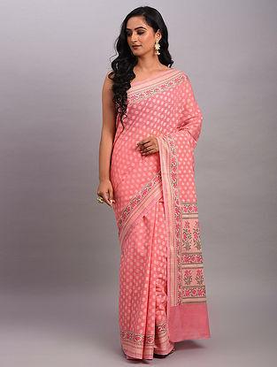 Pink Handwoven Benarasi Cotton Saree