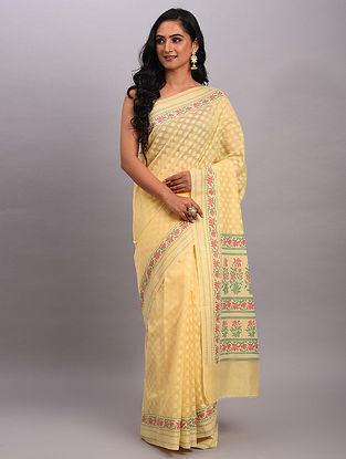 Yellow Handwoven Benarasi Cotton Saree