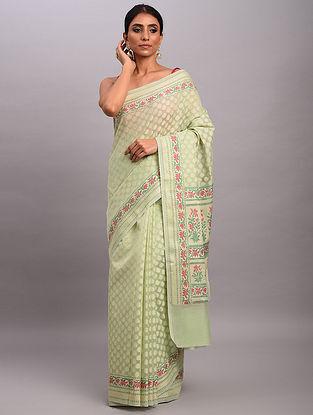Green Handwoven Benarasi Cotton Saree