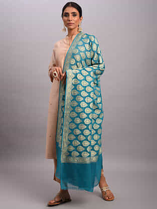 Blue Handwoven Benarasi Chiffon Dupatta