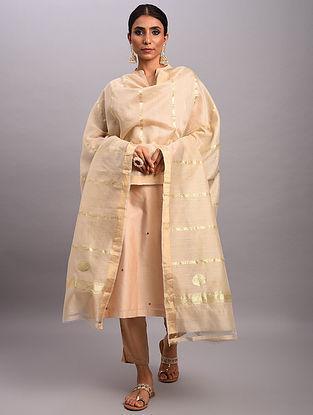 Ivory Handwoven Benarasi Muga Silk Dupatta