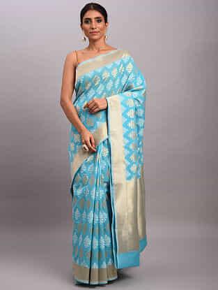 Blue Handwoven Benarasi Cotton Saree