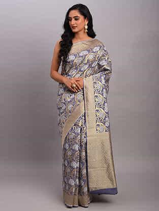 Grey Handwoven Benarasi Cotton Saree