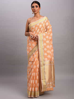 Orange Handwoven Benarasi Cotton Saree