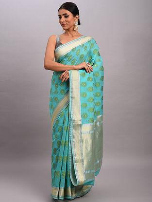Blue-Green Handwoven Benarasi Cotton Saree