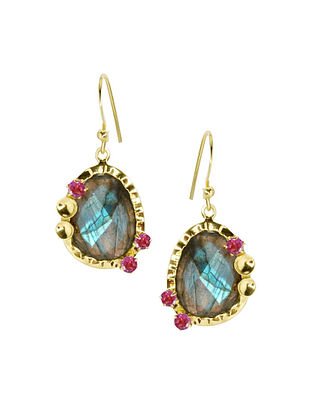 Gold Plated Silver Earrings with Labradorite and Garnet