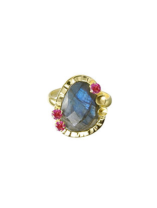 Gold Plated Silver Adjustable Ring with Labradorite and Garnet