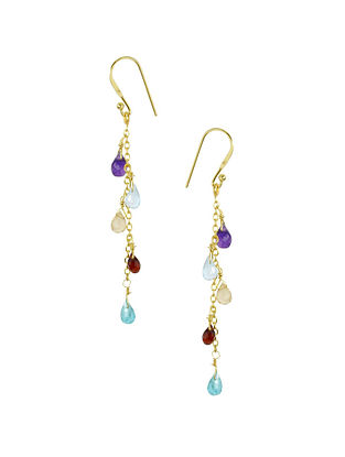 Multi-Stone Gold Plated Silver Earrings
